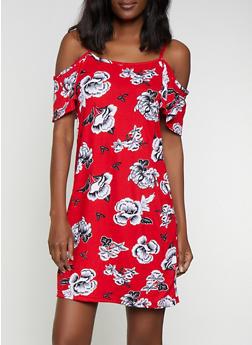 Floral Cold Shoulder Soft Knit Dress - 0094038349470