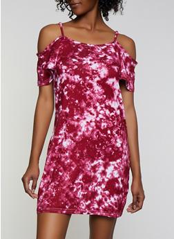 Tie Dye Cold Shoulder Dress - 0094038349472