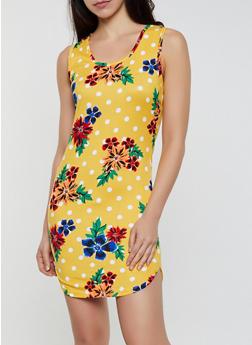 Floral Polka Dot Tank Dress - 0094038349477