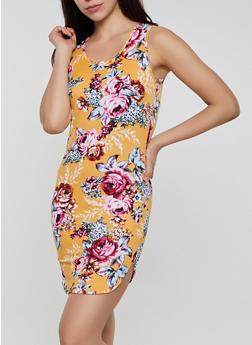 Floral Caged Back Tank Dress - 0094038349478