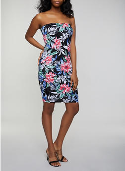 Floral Soft Knit Bodycon Tube Dress - 0094038349482