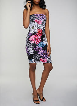 Soft Knit Floral Bodycon Tube Dress - 0094038349483