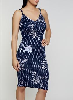 Half Button Floral Polka Dot Cami Dress - 0094038349488