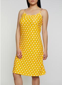 Chain Strap Polka Dot Midi Dress - 0094038349493