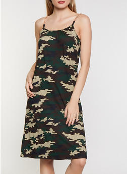 Chain Strap Soft Knit Camo Dress - 0094038349494