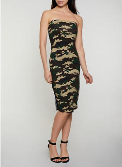 Striped Tape Printed Tube Dress - OLIVE - 0094038349602