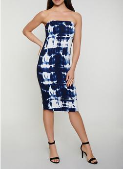 Striped Tape Printed Tube Dress - 0094038349602