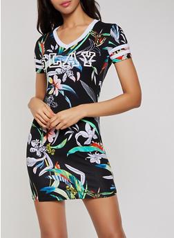 Slay Floral T Shirt Dress - 0094038349609