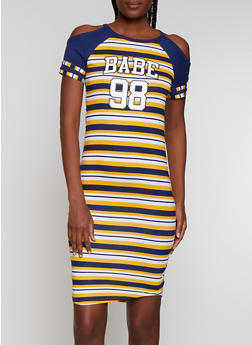 Cold Shoulder Babe Graphic T Shirt Dress - 0094038349618