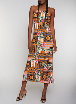 Metallic Neckline Mixed Print Maxi Dress - 0094038349659
