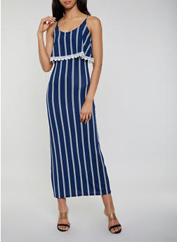 Crochet Trim Striped Maxi Dress - 0094038349660