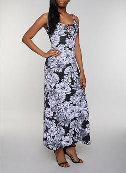 Floral Tie Neck Maxi Dress - 0094038349662