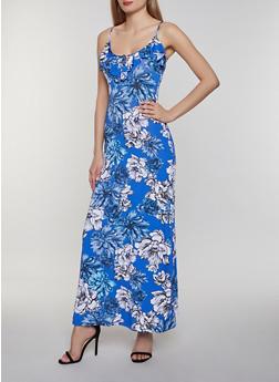 Floral Tie Neck Maxi Dress - 0094038349662