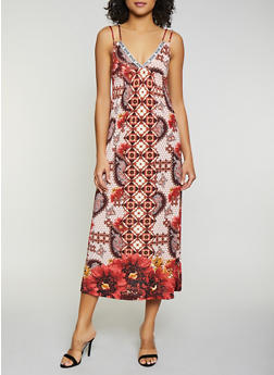 Printed Double Strap Cami Midi Dress - 0094038349663