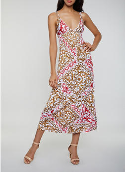 Double Strap Printed Dress - 0094038349664