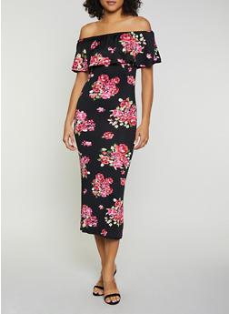 Floral Ruffled Off the Shoulder Maxi Dress - 0094038349673