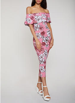 Floral Ruffle Off the Shoulder Maxi Dress - 0094038349674