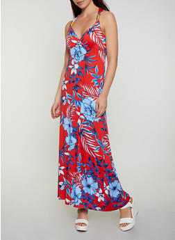 Metallic Coil Detail Floral Maxi Dress - 0094038349675