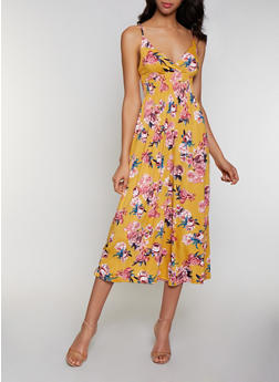 Sleeveless Floral Midi Dress - 0094038349677
