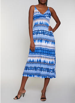 Printed Empire Waist Midi Cami Dress - 0094038349678