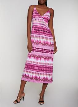 Printed Empire Waist Midi Cami Dress - 0094038349678