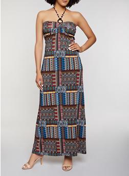 Beaded Halter Neck Printed Maxi Dress - 0094038349679