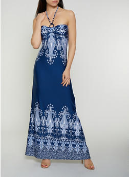 Beaded O Ring Halter Maxi Dress - 0094038349680