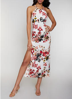 Metallic Neckline Floral Maxi Dress - 0094038349683
