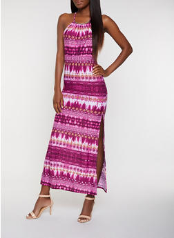 Side Slit Printed Tie Dye Maxi Dress - 0094038349685