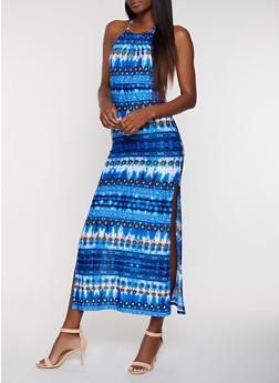 Side Slit Printed Tie Dye Maxi Dress - 0094038349685