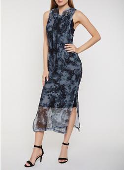 Tie Dye Fishnet Hooded Tank Maxi Dress - 0094038349697