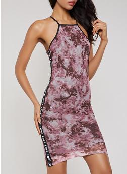 Love Tape Tie Dye Fishnet Tank Dress - 0094038349699