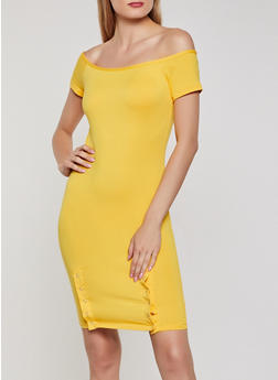 Off the Shoulder Snap Hem Dress - 0094038349805
