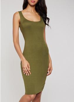 Scoop Neck Solid Tank Dress - 0094038349807