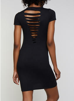Soft Knit Slashed Back T Shirt Dress - 0094038349809