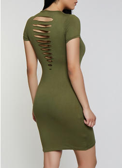 Soft Knit Slashed Back T Shirt Dress - 0094038349809