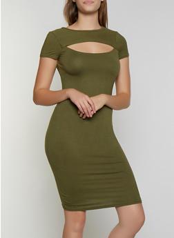 Soft Knit Cut Out Bodycon Dress - 0094038349816