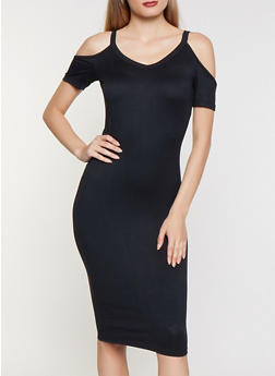 Cold Shoulder Soft Knit Midi Dress - 0094038349817