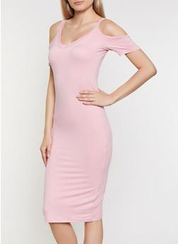 Cold Shoulder Soft Knit Midi Dress - 0094038349817