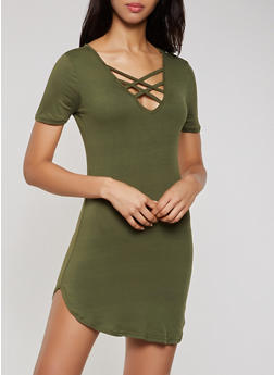 Caged V Neck T Shirt Dress - 0094038349824