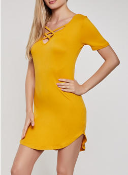Caged V Neck T Shirt Dress - 0094038349824