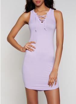 Lace Up Tank Dress - 0094038349826