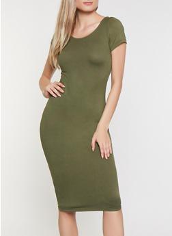 Soft Knit Scoop Back Bodycon Dress - 0094038349831