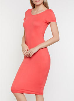 Soft Knit Scoop Back Bodycon Dress - 0094038349831