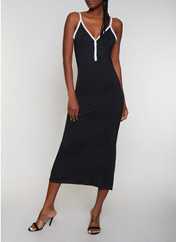 Contrast Trim Cami Maxi Dress - 0094038349834