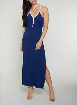 Contrast Trim Cami Maxi Dress - 0094038349834