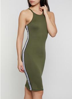 Striped Trim Soft Knit Bodycon Dress - 0094038349836