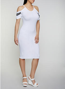 Varsity Stripe Cold Shoulder Midi Dress - 0094038349837