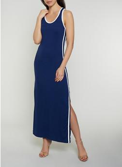 Soft Knit Varsity Stripe Maxi Tank Dress - 0094038349838