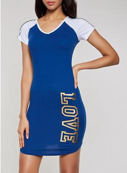 Foil Love Color Block T Shirt Dress - 0094038349855